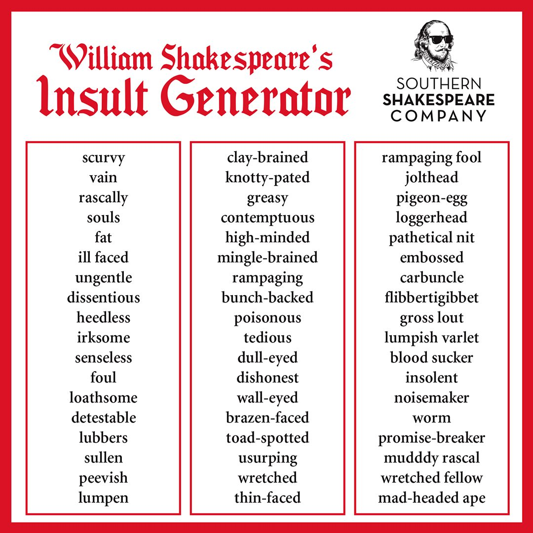 William Shakespeare Insult Generator